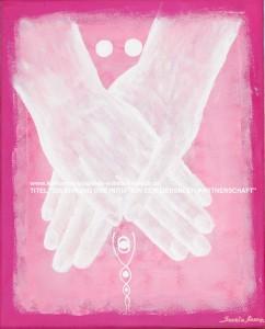 H.: 30 cm Br.: 24 cm T.: 1.7 cm Leinwand Acryl-Zeichnung Zwei eben-wertige Hände verbinden sich in Achtung und freier Leichtigkeit, um gemeinsam weiter zu gehen. Symbolische Darstellung der ganzheitlichen Vereinigung. Eine heilige Hoch-Zeit der dreieinigen Gemeinsamkeit. Das Männliche und Weibliche - zwei einzelne runde Ganze werden aus der reinen Natürlichkeit zu EINem gemeinsamen fließenden Lebenstanz. Hintergrund: hellzartes Rosa von erdigem Rosa umhüllt