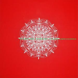 """H.: 1m Br.: 1m T.: 1.7 cm Leinwand Acryl-Zeichnung Hintergrund: Rot silberne und weiße Ornamente Schwingt in der Frequenz der positiven Erneuerung. Und unterstützt die Absicht und den Prozess der Aktivierung der Erneuerung und Neuausrichtig zu dem vollkommenen Leben und die Wunscherfüllung der persönlichen Herzensträume. So... wir es wünschen, wählen und aus dem tiefsten unseres Herzens ENTSCHEIDEN ist die Zeit des Leidens vorbei. Wir Alle sind geboren um glücklich zu sein! Und es ist unser Urrecht in Fülle, Frieden, Gesundheit, Freiheit und Freude zu leben. Alles Andere...alle """"wenn's"""" und """"aber"""" sind Illusion und das Vergessen... In der Wirklichkeit gibt es keinerlei Begrenzung... In der Wirklichleit ist ALLES ist möglich... Im Einklang mit dem Ganzen...und dem planetaren Grundgesetz des freien Willens... werden die Wunder geschehen... Medial-Energie- und Heilbilder ersetzten nicht die Diagnose, Behandlung oder Verordnung des Arztes, Therapeuten oder Heilpraktikers."""