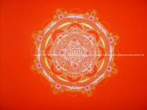 (Die Ornamente sind weiß und gold) H.: ca. 2 m Br.: 1m Leinwand Acryl-Zeichnung Hintergrund: Orangerot golden und weiße Ornamente